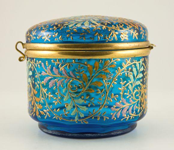 antique Moser art glass hinged enamel box