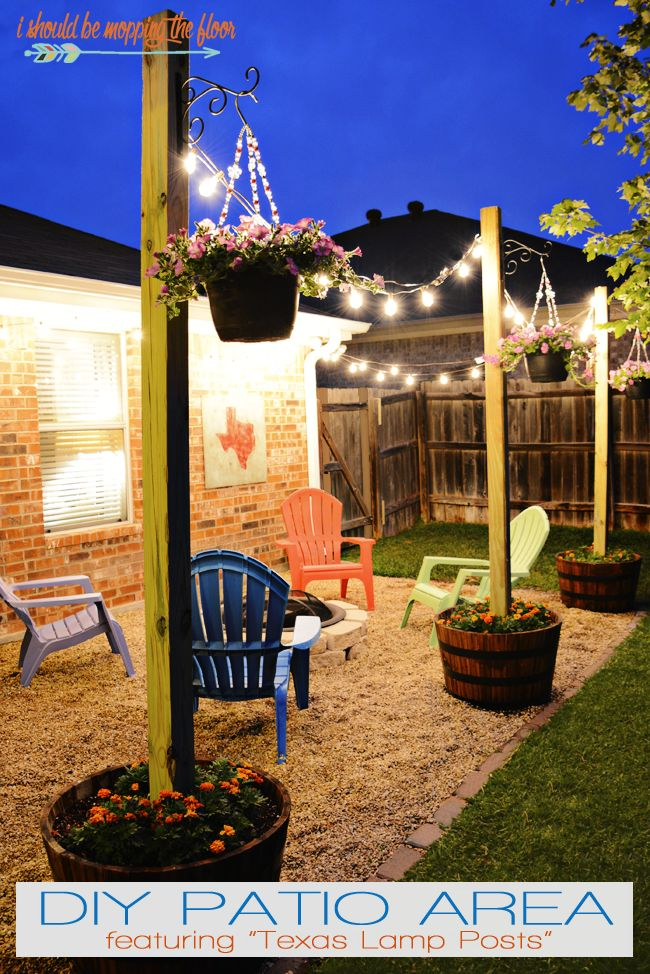 DIY Patio Area with Texas Lamp Posts | Add a patio with fun planter posts to a b...
