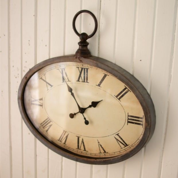 Antiqued Oval Wall Clock #clock #antiqueclocks