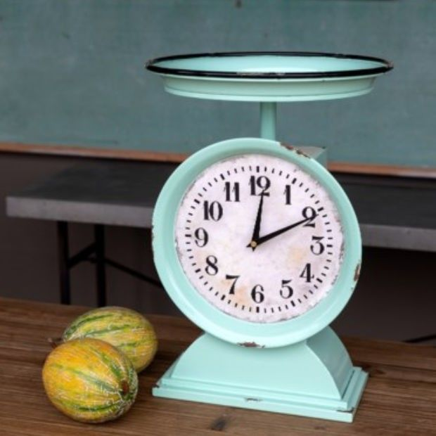 Vintage Inspired Produce Scale Clock #clock #tableclock