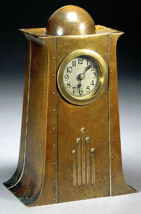 WMF Secessionist copper and brass clock, hammered copper with riveted constructi...