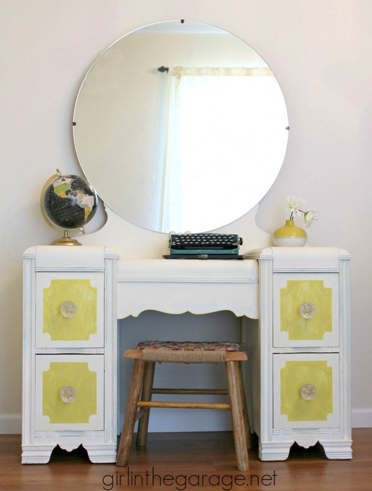 Bright white and yellow waterfall vanity makeover with Annie Sloan Chalk Paint®...