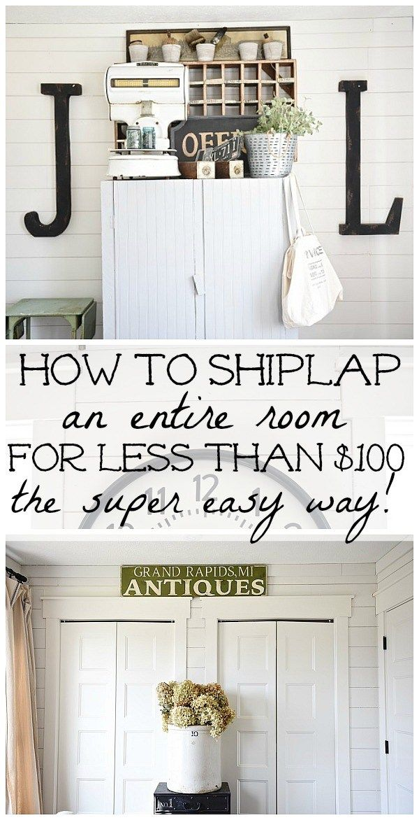 DIY shiplap walls - How to shiplap an entire room for LESS THAN $100. A full tut...