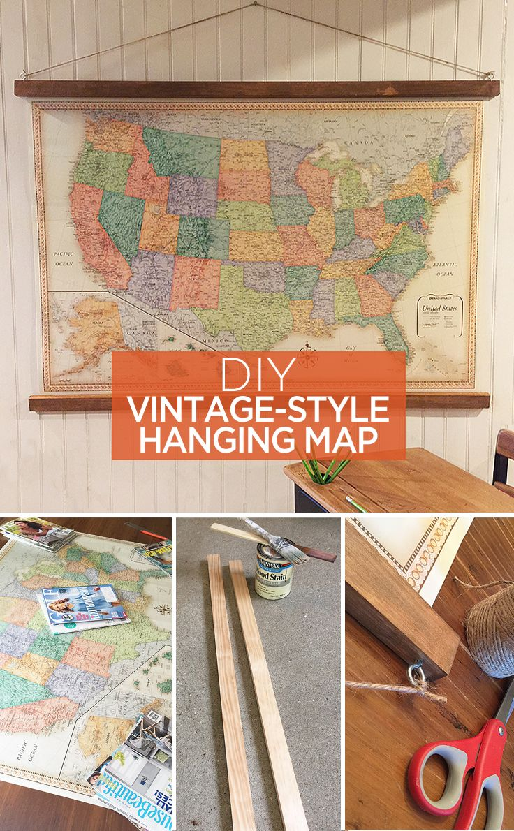 DIY vintage-style hanging map - great ideas to use as home decor or wall art for...