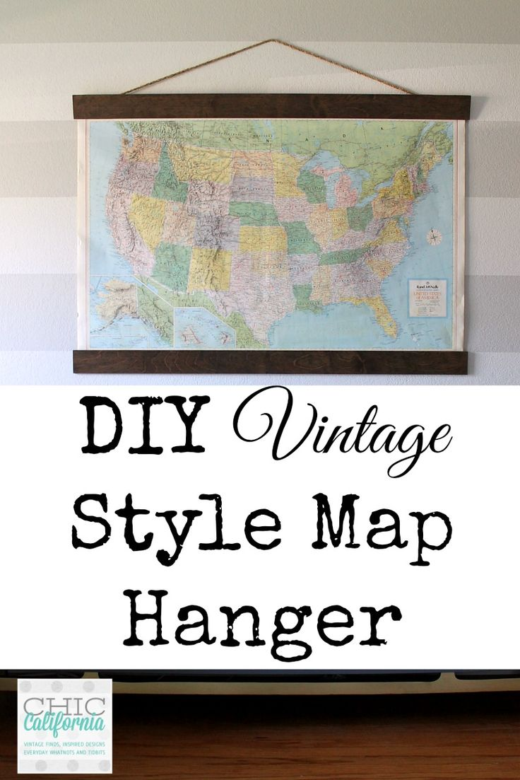 Super easy way to hang maps or odd shaped pictures.  From Adrienne Elizabeth Hom...