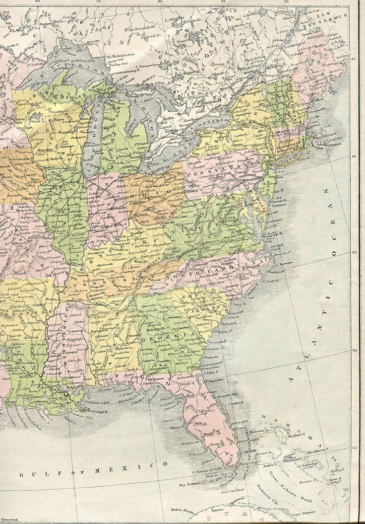 Vintage Map Eastern USA