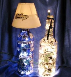 decorated wine bottles with lights | NFL Wine Bottle Lights - Bottles with lamps...