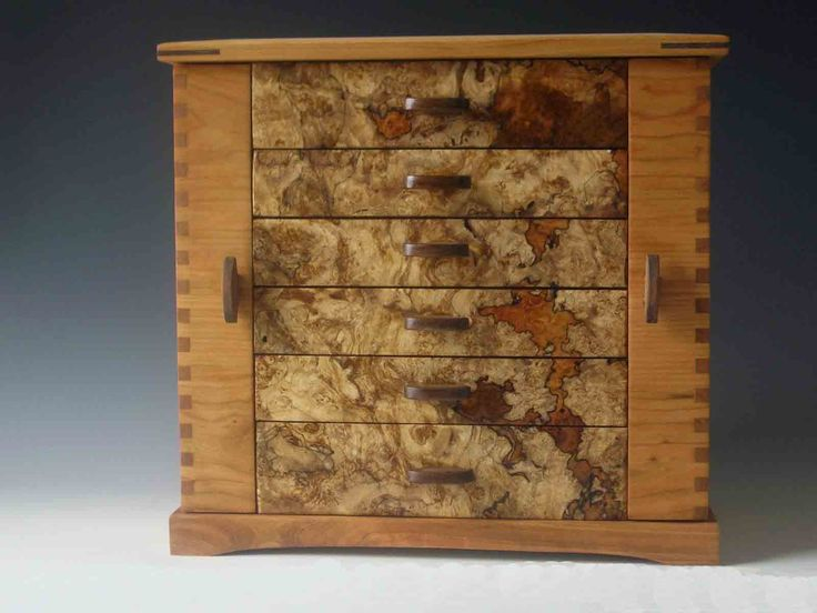 Handmade standing jewelry box made of cherry wood and burl; with two side doors ...