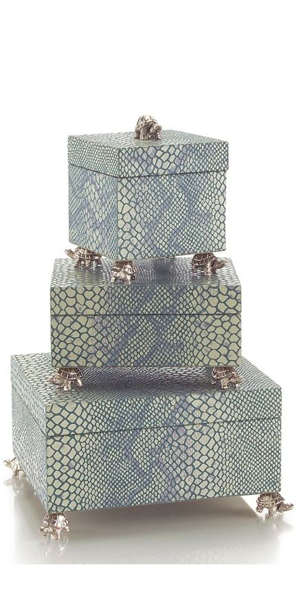 Luxury Wedding Gift Ideas, Designer Silver Turtle & Snake Jewelry Boxes, so beau...