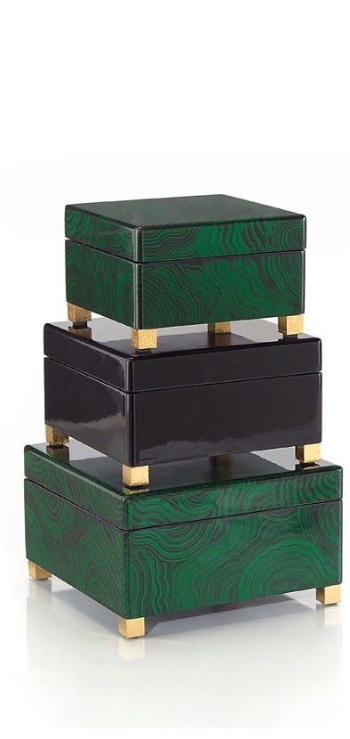 Malachite Dressing Table Boxes, so beautiful, one of over 3,000 limited producti...