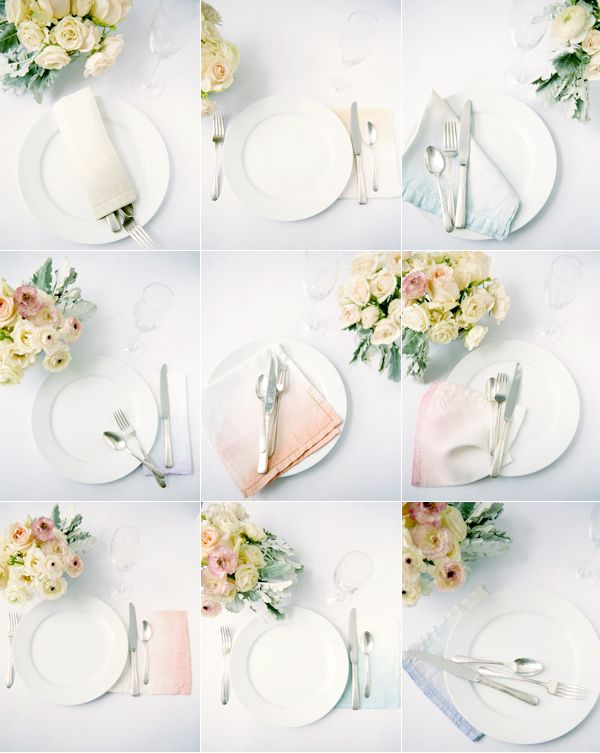 Dip-dye white linens to create a watercolor effect