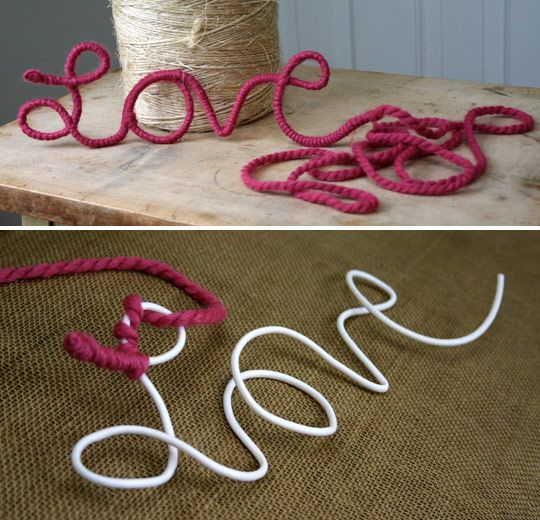 Yarn + wire. (wire hanger would work too)