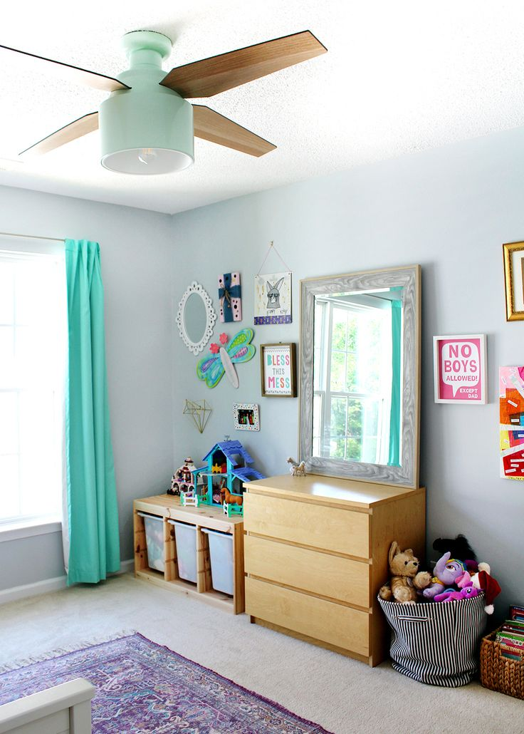 Girl's bedroom with SW Misty blue paint & Cranbrook ceiling fan #kidsroom #gir...