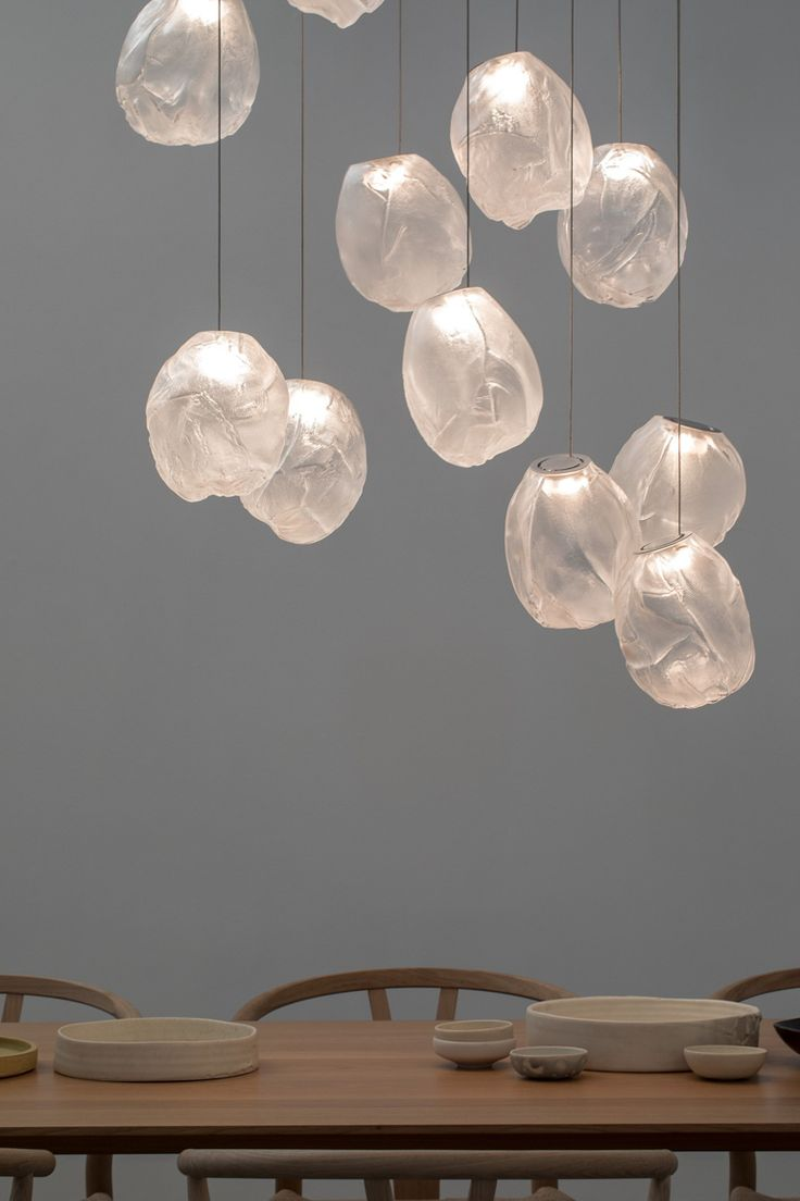 An oblong shape in gradient glass distinguishes the 73V pendant light by Omer Ar...