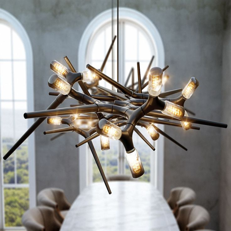 This modern and sculptural lighting design is composed of only two different pie...