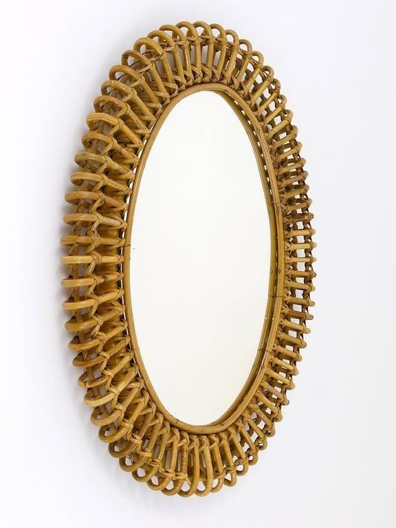 20th Century Oval Mid-Century Rattan Wicker Wall Mirror, Franco Albini Style, It...