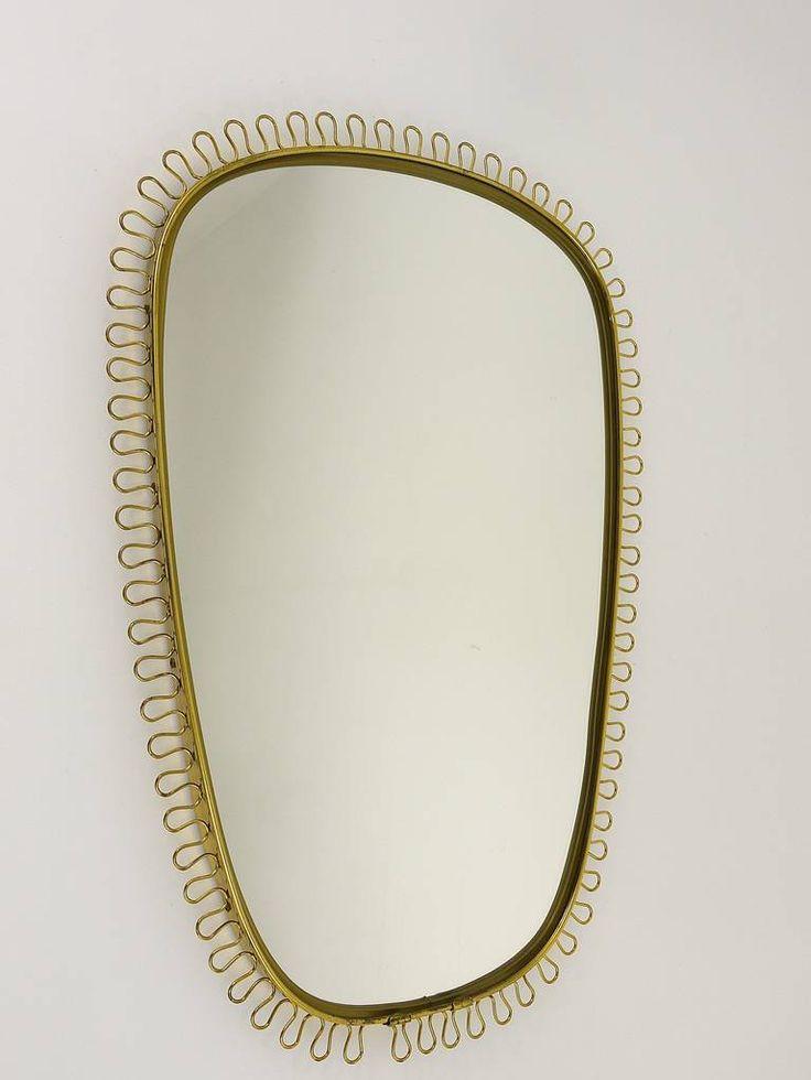 Beautiful Brass Loop Mirror Attributed to Josef Frank, Austria, 1950s