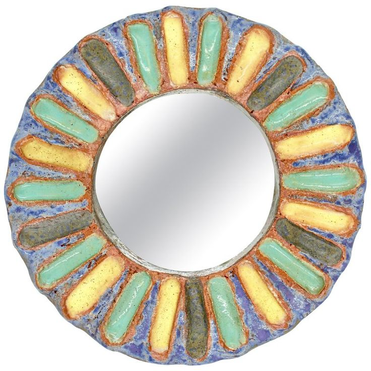 Ceramic Mirror by Les Argonautes, Vallauris, 1960s