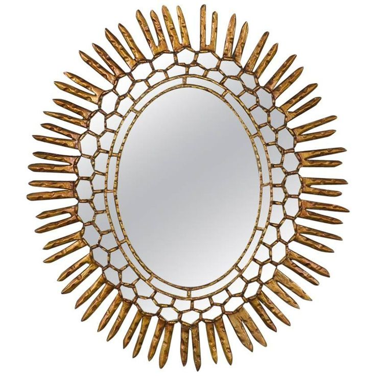 Spanish Carved Sunburst Mirror, Circa 1950