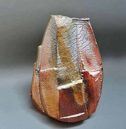 aceted shino vase – Hayashi Shotaro – White Shino glaze clings like ice and ...