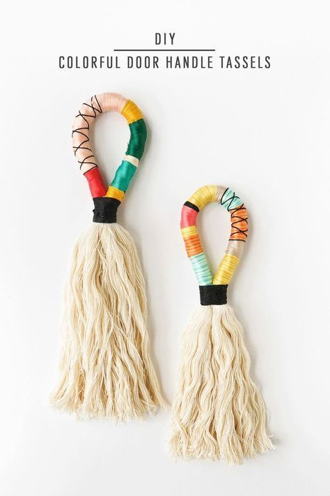 DIY Colorful Door Handle Tassels by Ashley Rose of Sugar & Cloth, a top lifestyl...