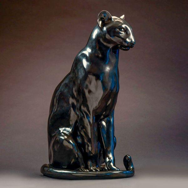 #Bronze #sculpture by #sculptor Nick Bibby titled: 'Black Panther (life size Bro...