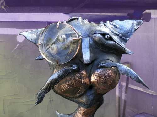 #Iron / #steel #sculpture by #sculptor Roman Velihurskiy titled: 'Tramp (Caricat...