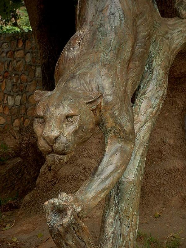 #Bronze #sculpture by #sculptor Keith Calder titled: 'Leopard on branch'. #Keith...