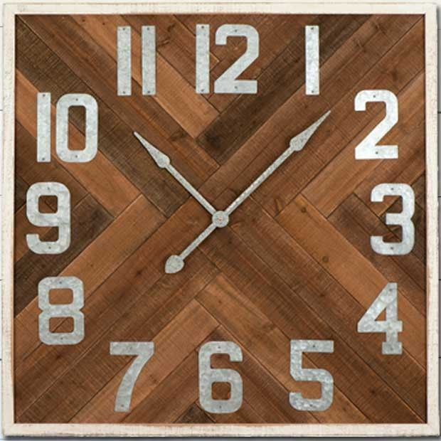 Square Herringbone Wood Wall Clock #clock #wallclock