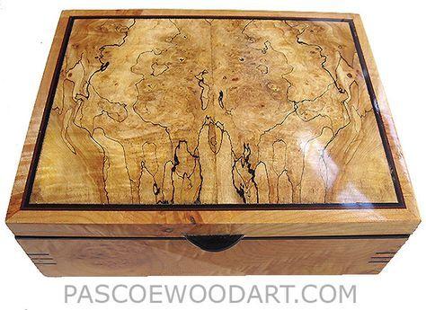 10 7 4 300 Handcrafted wood box - Decorative wood keepsake box made of solid car...