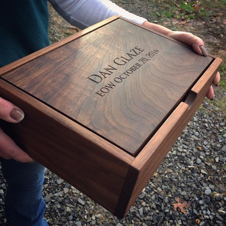 A walnut pivot lid box custom engraved, for memories of someone special. #endofw...