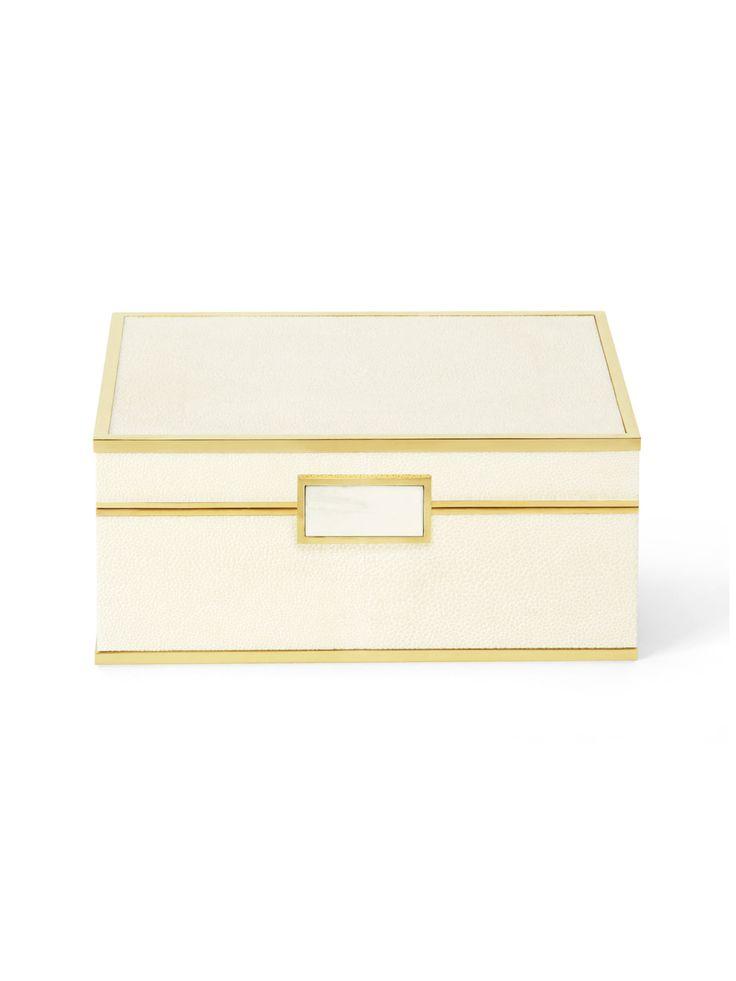 Aerin Shagreen Jewelry Box - Cream Small