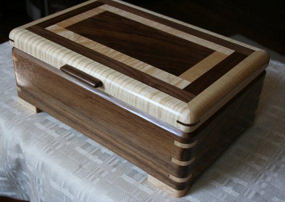 American Walnut and Figured Maple Wood Jewelry Box Wooden