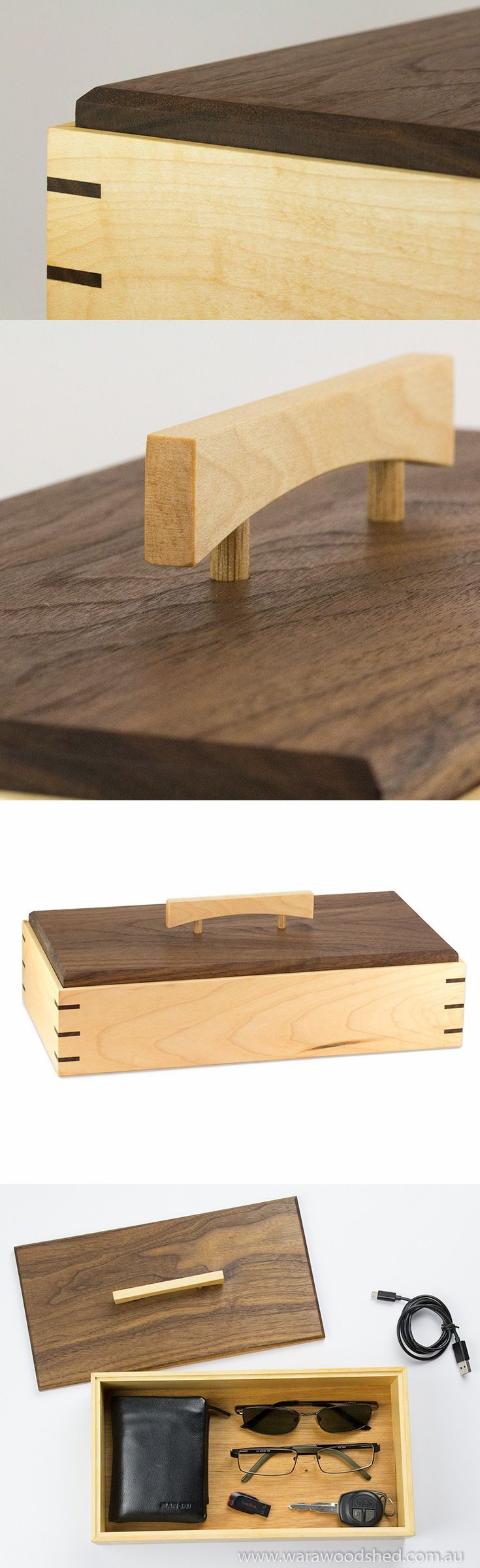 An elegant wooden keepsake box made from Rock Maple and Black Walnut.
