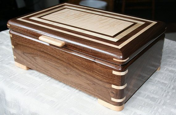 Black Walnut and Figured Maple Wood Jewelry Box Wooden