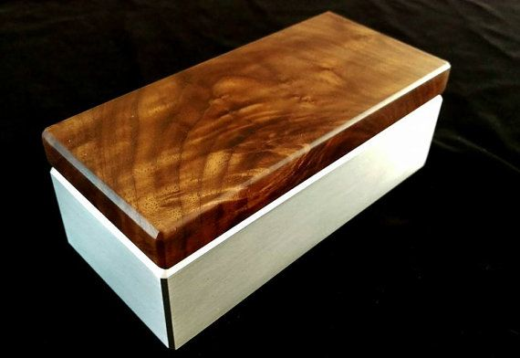 Claro Walnut & Aluminum Trinket/Keepsake Box