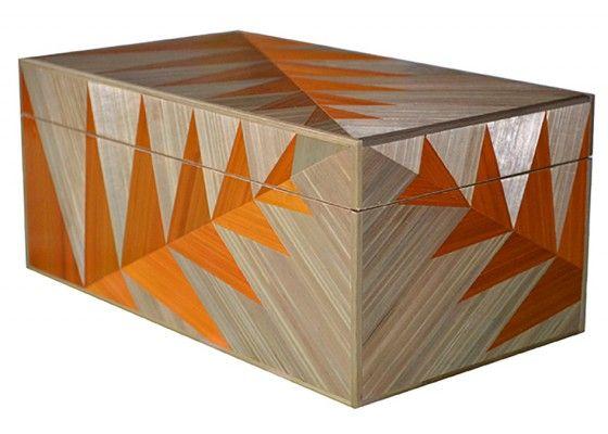 Gold Fern Straw Marquetry Box by Violeta Galan