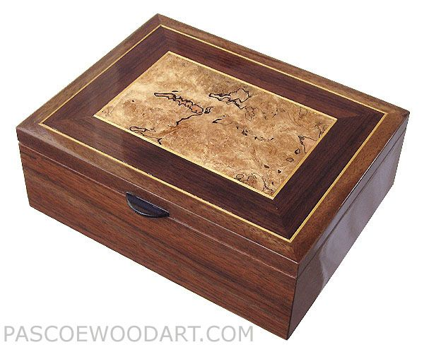Handcrafted wood men's valet box, decorative keepsake box made of walnut wit...