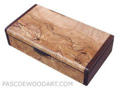 Handmade small wood box - Small wood keepsake box made of spalted maple burl, bo...