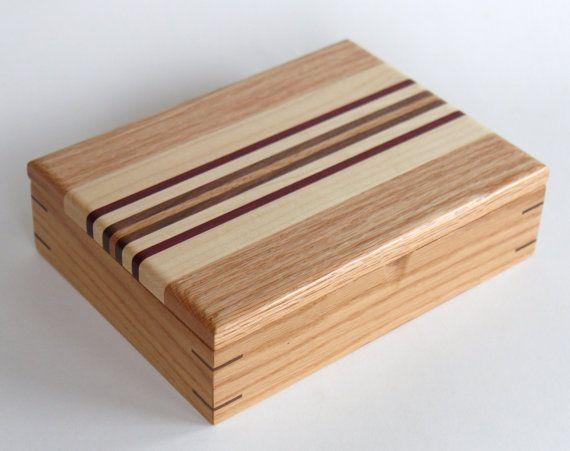 Keepsake Oak Wood Box with Oak Maple Walnut and by ElwellsWoodShop, $110.00  (ET...