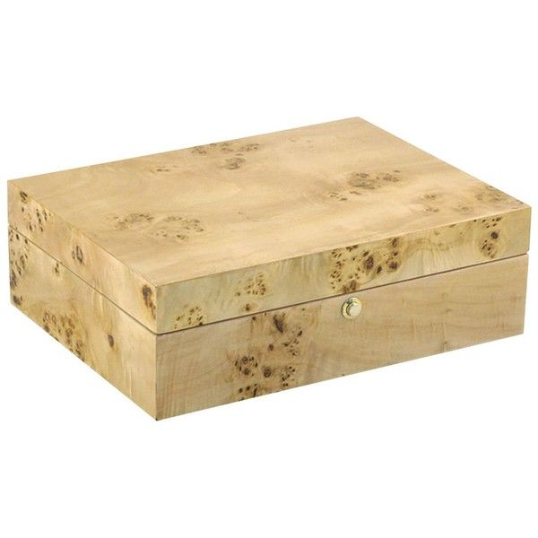 Siena Natural Tan Burl Wood Jewelry Box with Tray found on Polyvore