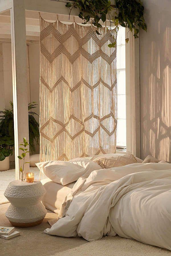 Boho bedroom with a Meadowsweet Macramé Panel