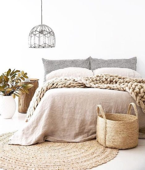 Cozy Textiles for a Modern Bedroom Design | Linen and Stripes | Weave and Croche...