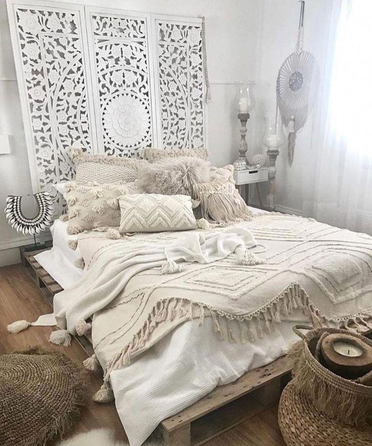 Cozy white Boho bedroom