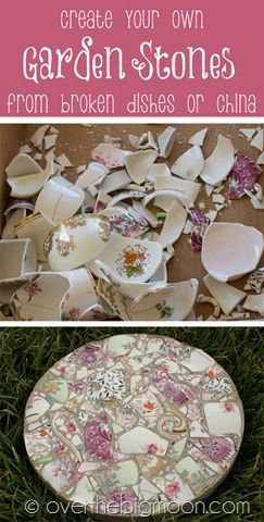 How to make Garden Stones from Shattered China! From overthebigmoon.com!