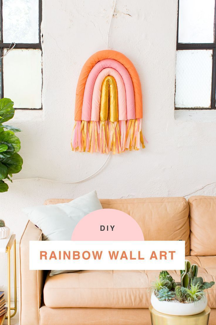 DIY Rainbow Art Wall Hanging by top Houston lifestyle blogger Ashley Rose of Sug...