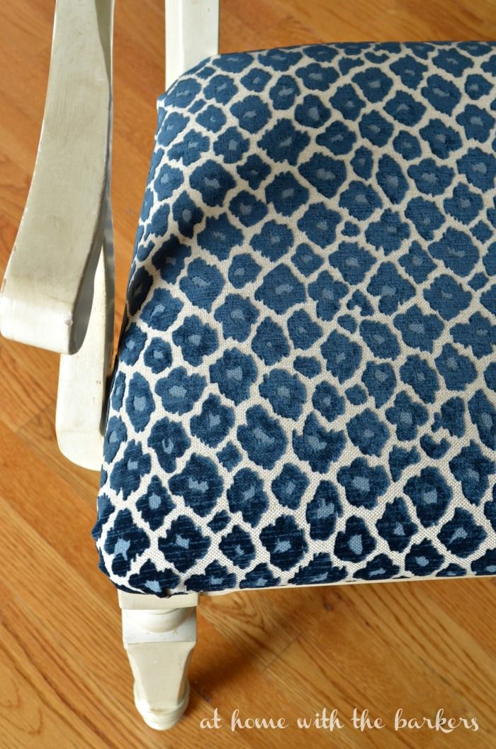 Recover kitchen chair tutorial using Simba Fabric in Navy. Instant room makeover...