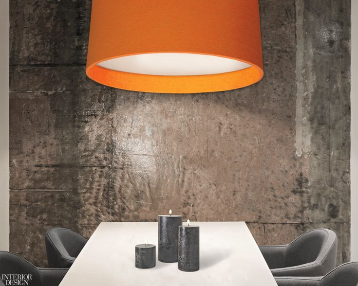 Acoustic Reflex sound-absorbing LED drum pendant in Saffron felt by Barbican.