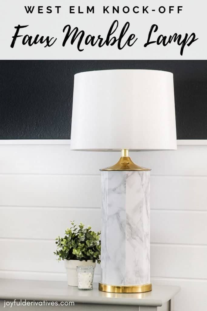 DIY Faux Marble Table Lamp Makeover with Contact Paper