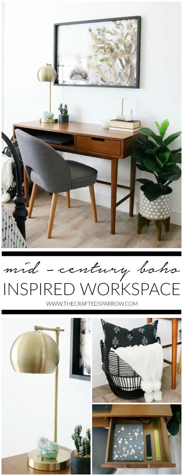 Mid-Century Boho Inspired Workspace